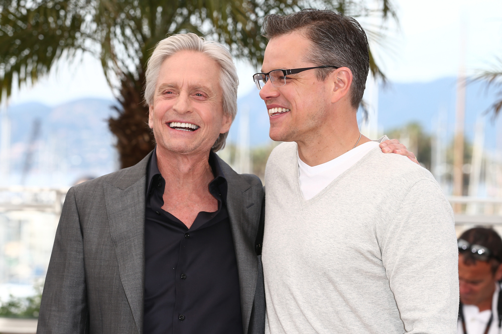 . Actors Michael Douglas and Matt Damon (R) attend the \'Behind The Candelabra\' Photocall during The 66th Annual Cannes Film Festival at the Palais des Festivals on May 21, 2013 in Cannes, France.  (Photo by Andreas Rentz/Getty Images)