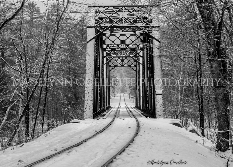 Train Trestle in Snow B&W