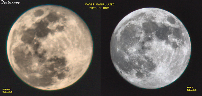 Moonshots with my 600mm Soligor Telephoto. Comparison before the lens was professionally cleaned and after. Cleaning was done by  C.S.C Inc. of Smyrna, GA, USA.  This work is licensed under a Creative Commons Attribution- NonCommercial 4.0 International License