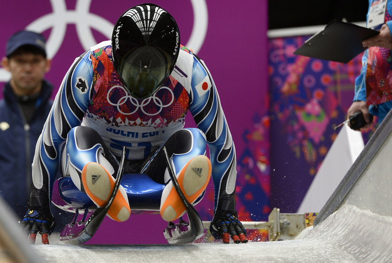 . Japan\'s Hidenari Kanayama prepares to compete during the Men\'s Luge Singles run one at the Sliding Center Sanki during the Sochi Winter Olympics on February 8, 2014.  (LIONEL BONAVENTURE/AFP/Getty Images)
