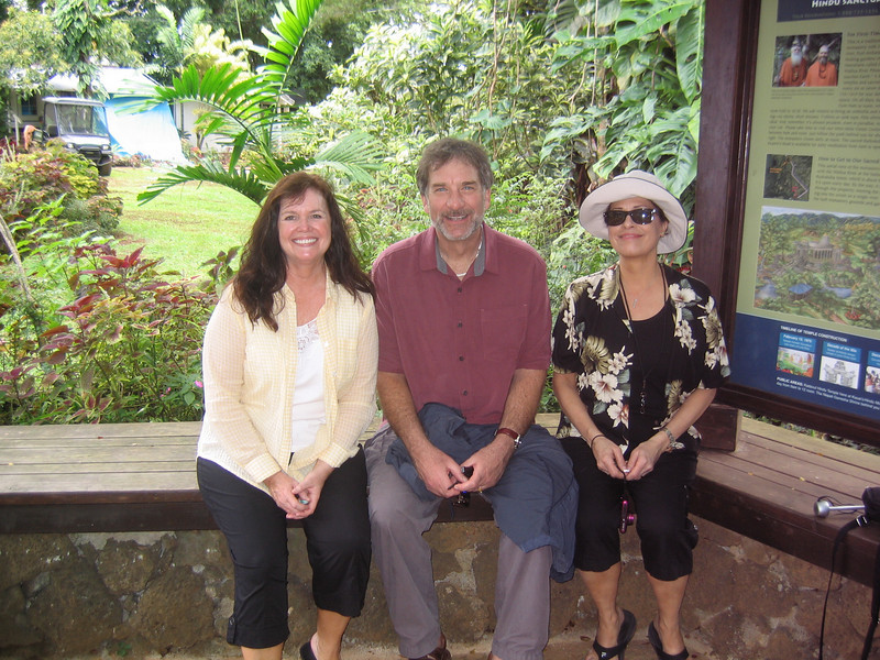 Linda Benyo, Geoffrey Hoppe and Kathleen Haws back at the Gazebo at the Monastery - more rested this time!