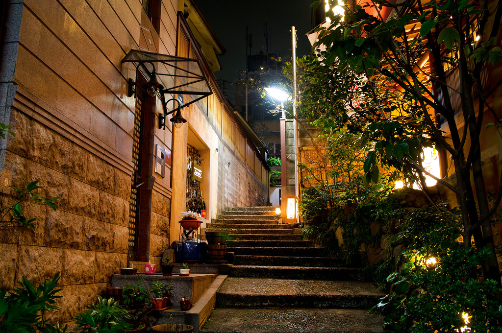 Narrow lane with steps in Kagurazaka. Editorial credit: picture cells / Shutterstock.com