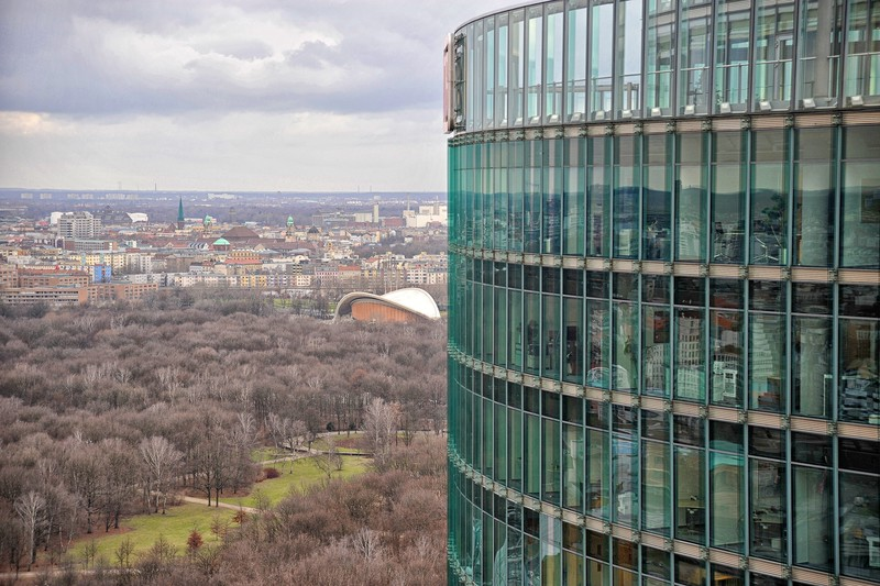Telephoto from Kollhof Building past DB Building across the Tiergarten with the House of World Cultures in middle to left of DB Building..