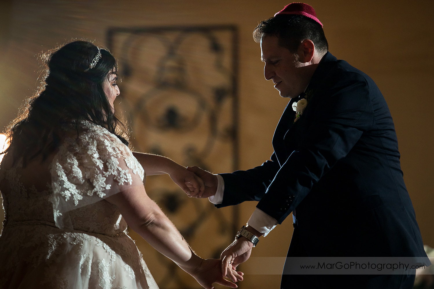 jewish bride and groom during first dance at wedding reception at Livermore Garre Vineyard and Winery