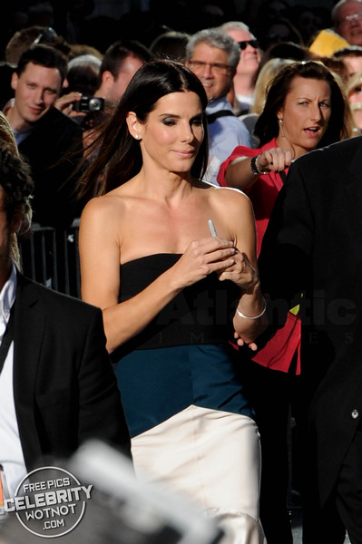 Sandra Bullock Wears Narciso Rodriguez dress To Gravity Premiere, Toronto