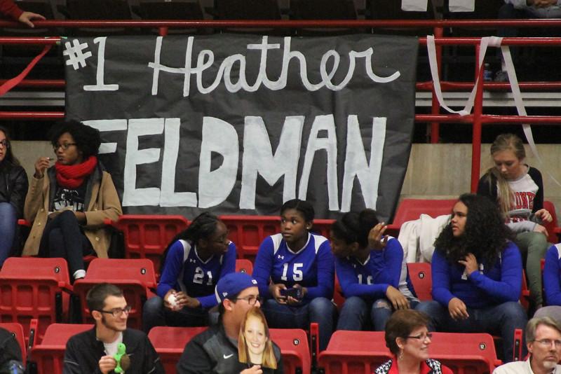 Sign honoring senior Heather Feldman at the senior volleyball game.