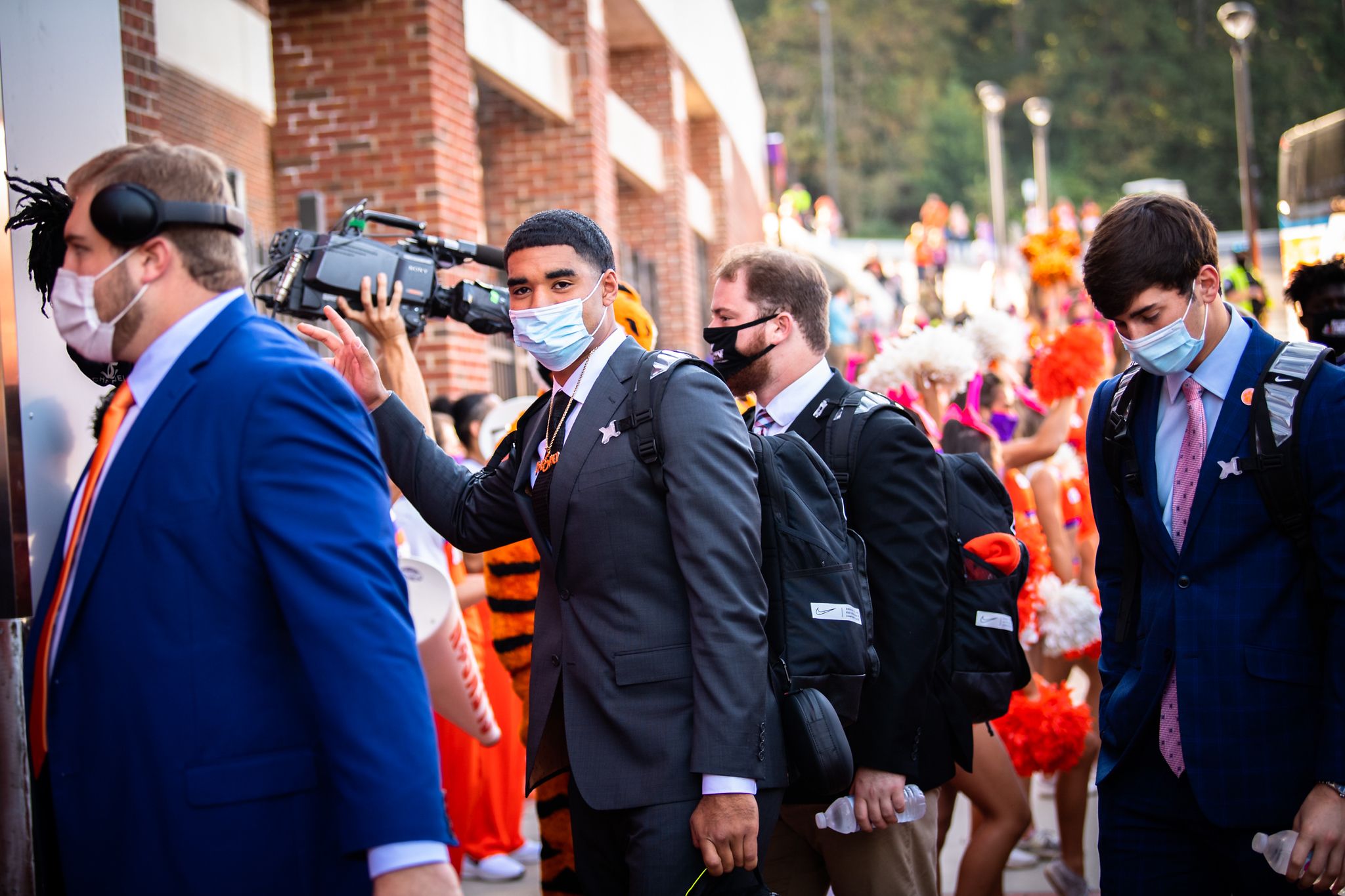 Oct 24, 2020; Clemson, South Carolina, USA;   Clemson players arrive for the Clemson Tiger Walk before their game against Syracuse at Memorial Stadium. Mandatory Credit: Ken Ruinard-USA TODAY Sports