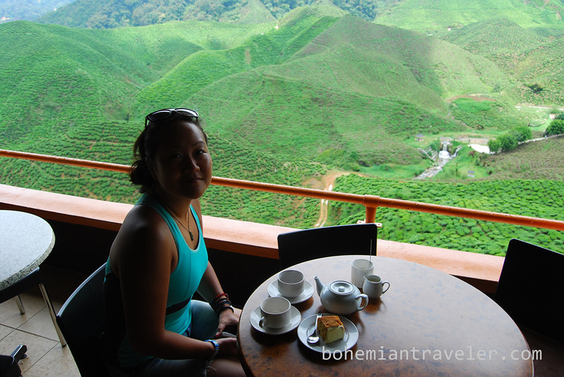 Juno drinking tea with a view at Cameron Valley Tea fields [Bharat].jpg