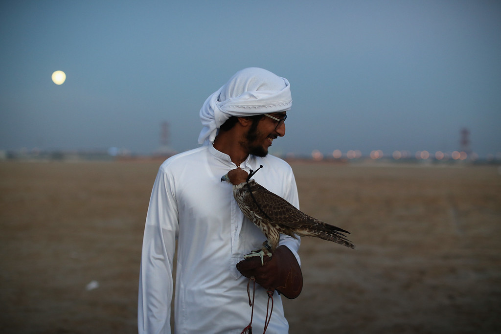 . A young man stands with his falcon at twilight on February 3, 2015 in Abu Dhabi, United Arab Emirates. (Photo by Dan Kitwood/Getty Images)