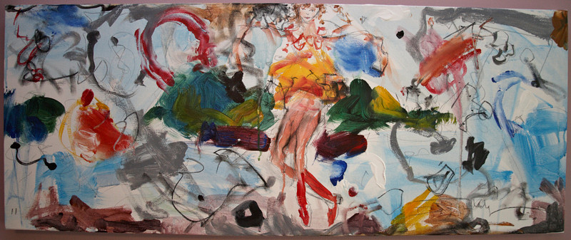 "2011, 16"" x 40"". A Moment Of Pleasure, Acrylic and pencil on canvas."