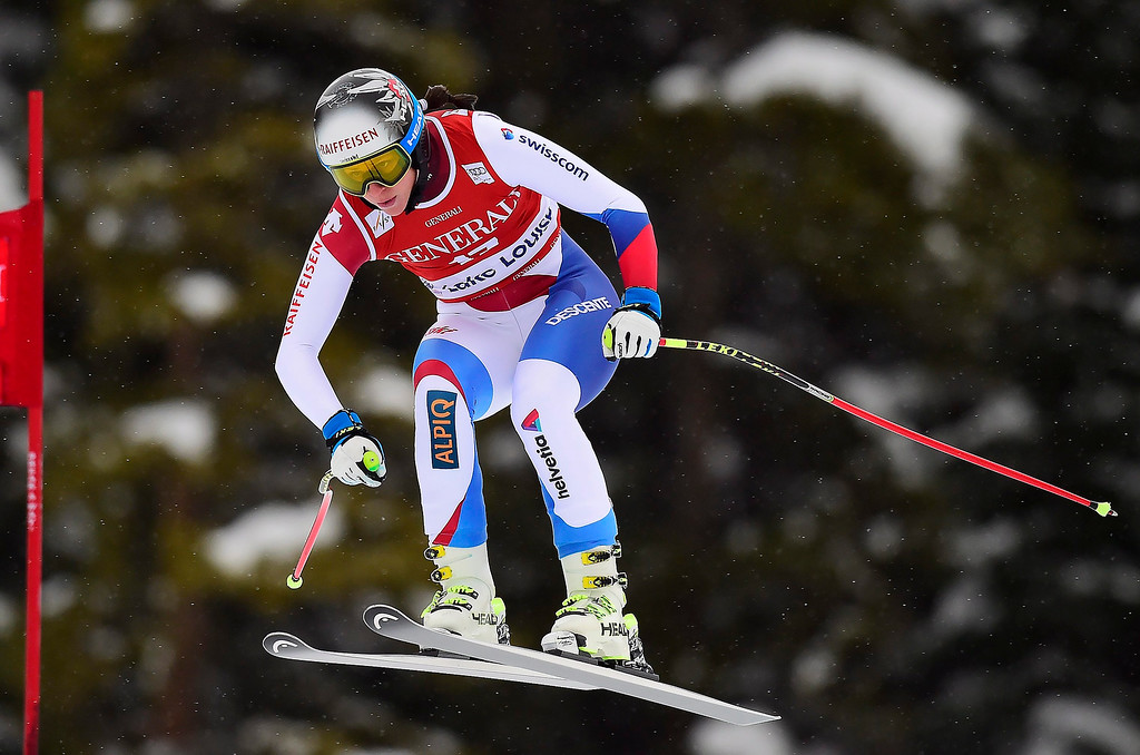 . Marianne Abderhalden, of Switzerland, races down the course during the women\'s World Cup downhill ski race in Lake Louise, Alberta, Saturday, Dec. 6, 2014. (AP Photo/The Canadian Press, Frank Gunn)