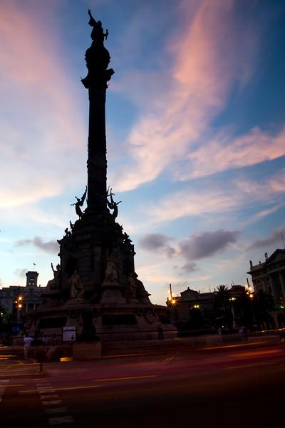Columbus monument on the seaport, town of Barcelona, autonomous commnunity of Catalonia, northeastern Spain