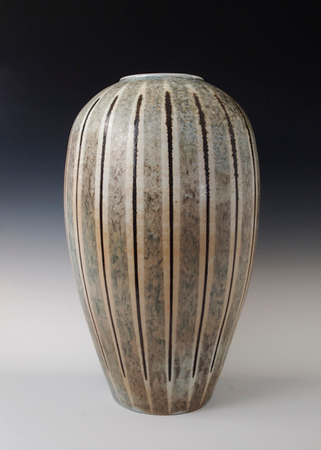 "Pin Stripe Vase 16.5"" x 9"" x 9"" Cone 10 Wood Fired Porcelain"