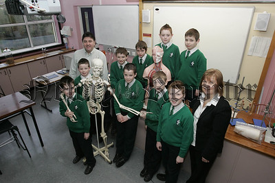 Pupils from St Ronan's P.S. are pictured during science week at St Joseph's Boys' High School with teachers Morris Quinn and Mrs Boardman. 07W5N16