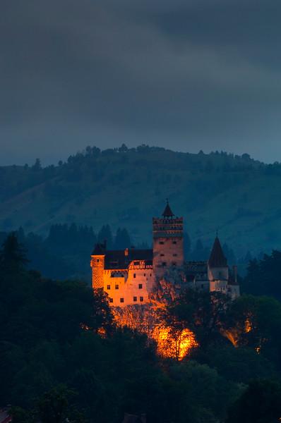 Bran Castle on a stormy evening, Bran, Transylvania, Romania