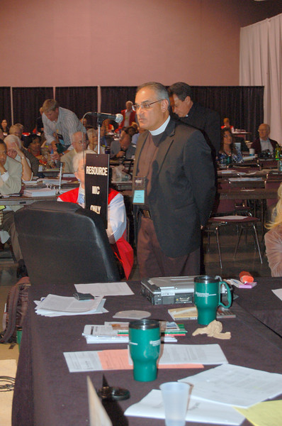 The Rev. Rafael Malpica-Padilla, executive director, ELCA Global Mission Unit, speaks to a voting member's question.
