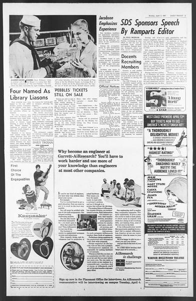 Daily Trojan, Vol. 58, No. 97, April 03, 1967