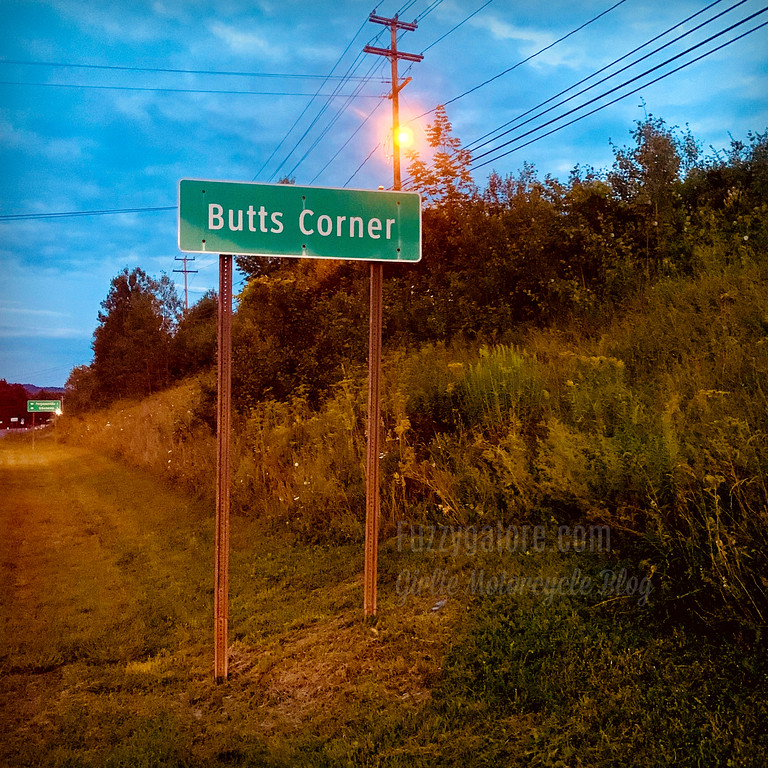 The Butts Corner sign in New York
