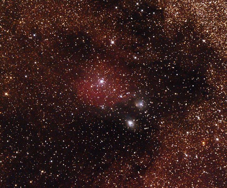 IC1283-4 - Gum 78 - Nebula in Sagittarius with NGC6589-90 Reflection Nebulae - 24/9/2014 (Processed cropped single test image)