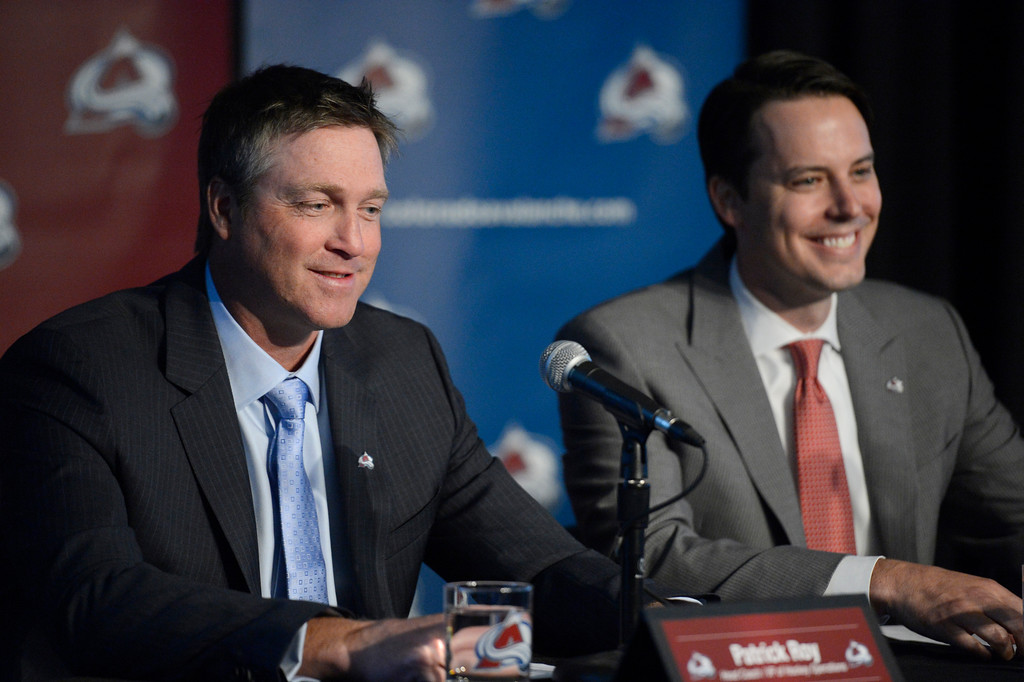 . The Colorado Avalanche announced Patrick Roy as their new head coach/vice president of hockey operations May 28, 2013 at Pepsi Center. Roy smiles ashe looks out to the crowd as Avalanche President Josh Kroenke smiles. This will make Roy the sixth  head coach in Avalanche history since coming to Denver. (Photo By John Leyba/The Denver Post)
