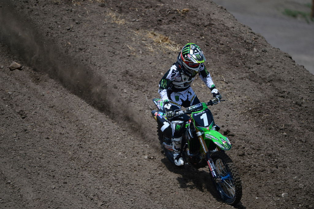 . LAKEWOOD, CO - MAY 23:  Professional motocross rider, Blake Baggett, rides during a practice session on media day at the AMA Thunder Valley National at the Thunder Valley Motocross Park in Lakewood Colorado, Thursday May 23, 2013. (Photo By Andy Cross/The Denver Post)