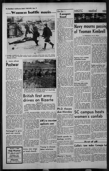 Daily Trojan, Vol. 34, No. 123, April 09, 1943