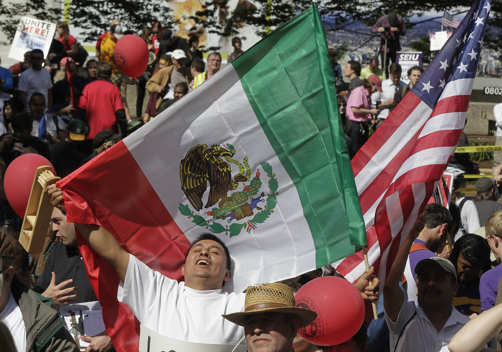 . Jorge Zamora, from Mexico, joins a May Day rally in Portland, Ore., Wednesday, May 1, 2013.(AP Photo/Don Ryan)