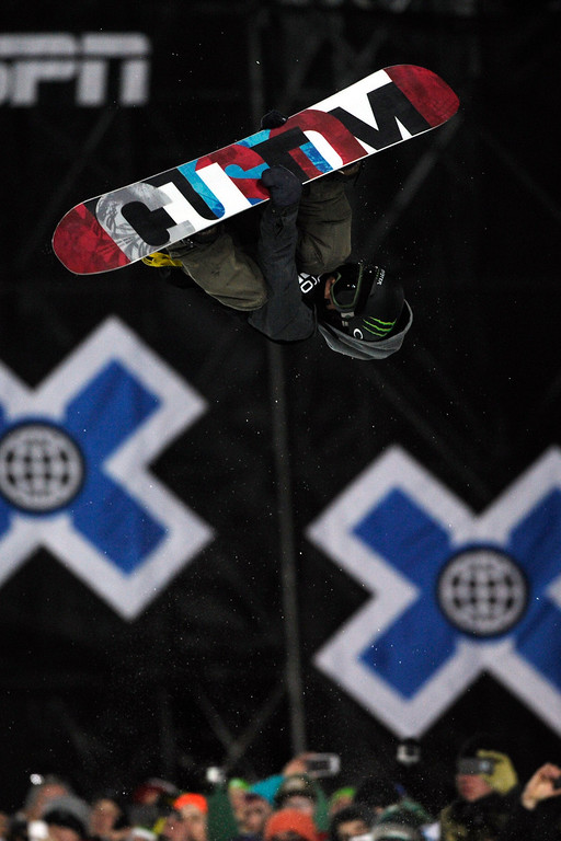 . ASPEN, CO - JANUARY 27: Ayumu Hirano makes a hit during the men\'s snowboard superpipe final. X Games Aspen Buttermilk Mountain Aspen January 27, 2013. (Photo By Daniel Petty/The Denver Post)