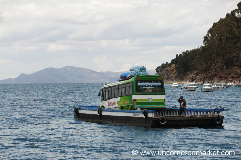 Crossing Water on the Way from Copacabana to La Paz - Bolivia
