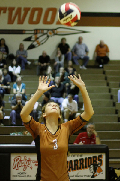 Westwood's Karina Robinson sets against Pflugerville on Tuesday at Westwood High School.