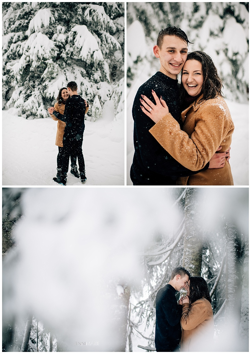 Snowy Grouse Mountain Engagement Photos