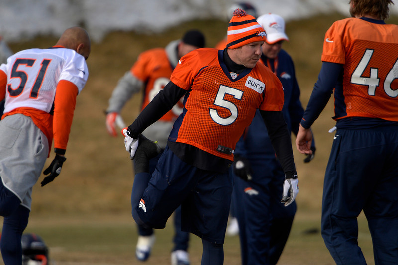 . Kicker Matt Prater #5 of the Denver Broncos during warm ups at practice in Centennial January 10, 2014 Centennial, Colorado. (Photo by Joe Amon/The Denver Post)