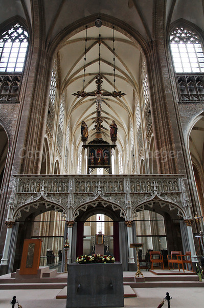 View on the interior of the St Peter's Church (Sint-Pieterskerk) in Louvain (Leuven), Belgium. The church was built in the 15th Century.