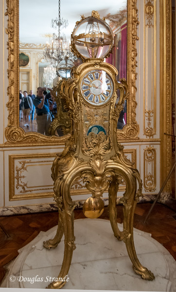 Inside the Chateu Versailles: an elaborate clock, still working