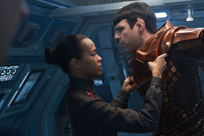 . (Left to right) Zoe Saldana is Uhura and Zachary Quinto is Spock in STAR TREK INTO DARKNESS, from Paramount Pictures and Skydance Productions.   (Photo by Zade Rosenthal)