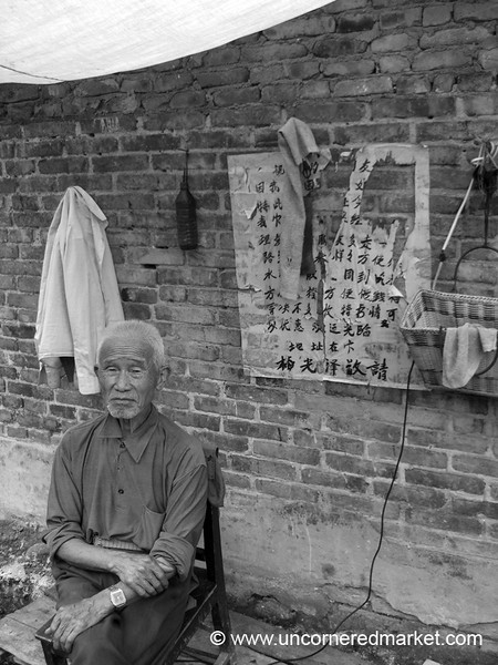 Chinese Barber in Black and White - Guizhou Province, China