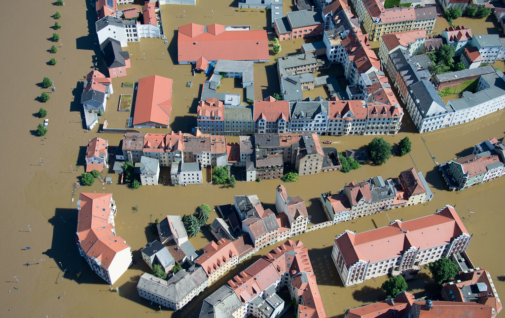 . Aerial view shows the flooded city of Meissen, eastern Germany, on June 5, 2013.  AFP PHOTO / JOHANNES  EISELE/AFP/Getty Images