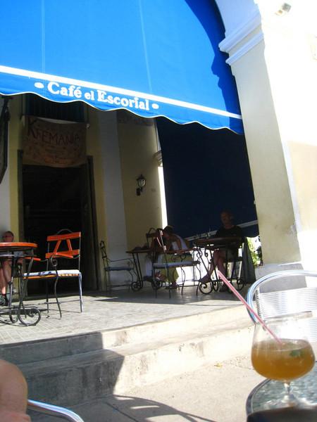 Cafe el Escorial in Plaza Vieja where we tried a daiquiri cafe.. didn't taste like coffee, though