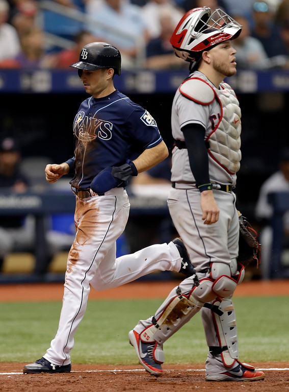 . Tampa Bay Rays\' Brandon Lowe, left, scores behind Cleveland Indians catcher Roberto Perez on a sacrifice fly by Kevin Kiermaier during the fourth inning of a baseball game Wednesday, Sept. 12, 2018, in St. Petersburg, Fla. (AP Photo/Chris O\'Meara)