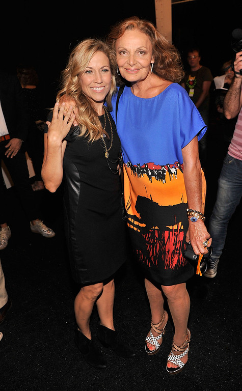 . Singer Sheryl Crow and designer Diane Von Furstenberg backstage at the Diane Von Furstenberg fashion show during Mercedes-Benz Fashion Week Spring 2014 at The Theatre at Lincoln Center on September 8, 2013 in New York City.  (Photo by Stephen Lovekin/Getty Images for Mercedes-Benz Fashion Week Spring 2014)