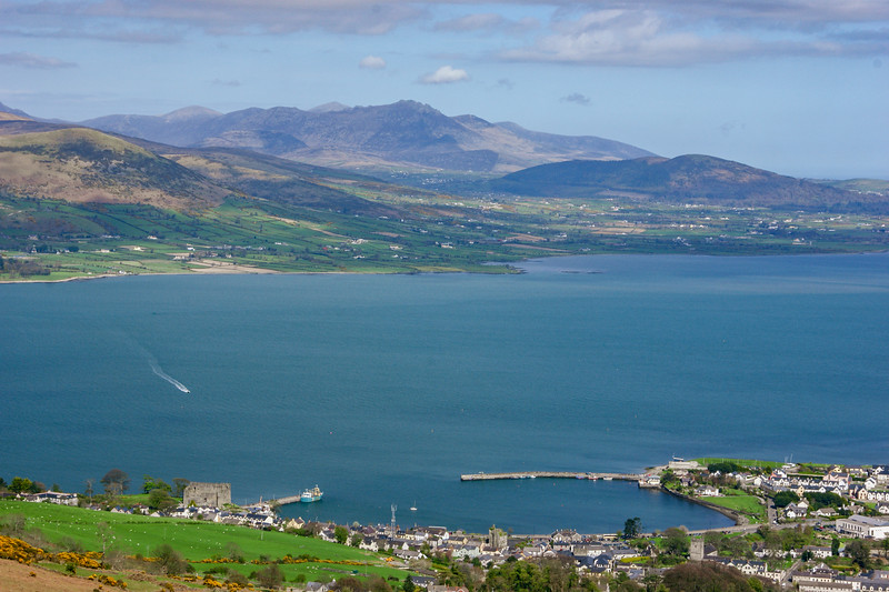 Carlingford Lough and the Mourne Mountains from the Golyin Pass