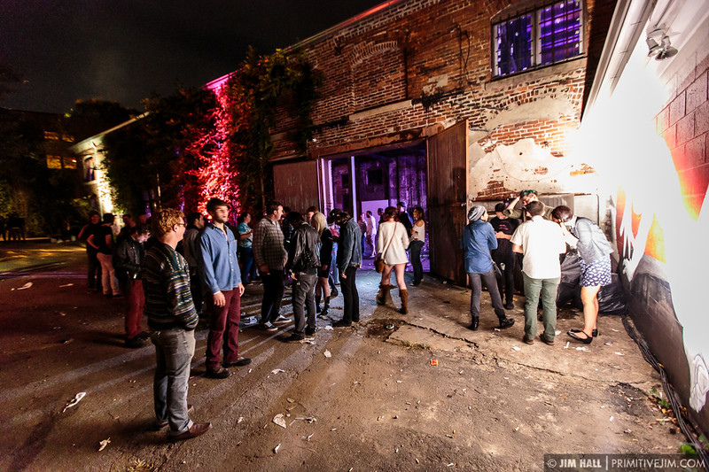 Fans relaxing after the show at The Goat Farm Art Center in Atlanta, Georgia on Saturday, Oct. 4, 2014
