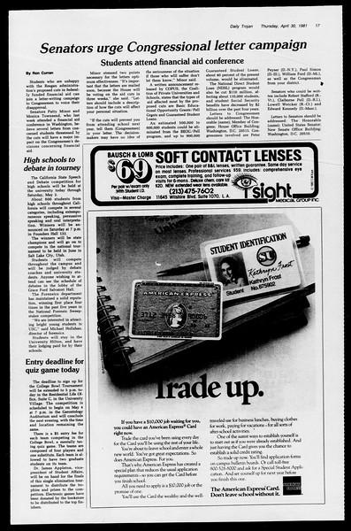 Daily Trojan, Vol. 90, No. 52, April 30, 1981