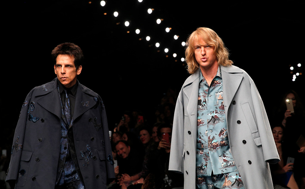 . Actors Ben Stiller, left, and Owen Wilson wear  creations for Valentino\'s fall-winter 2015-2016 ready to wear fashion collection, presented at Paris fashion week, Paris, France, Tuesday, March 10, 2015. (AP Photo/Christophe Ena)