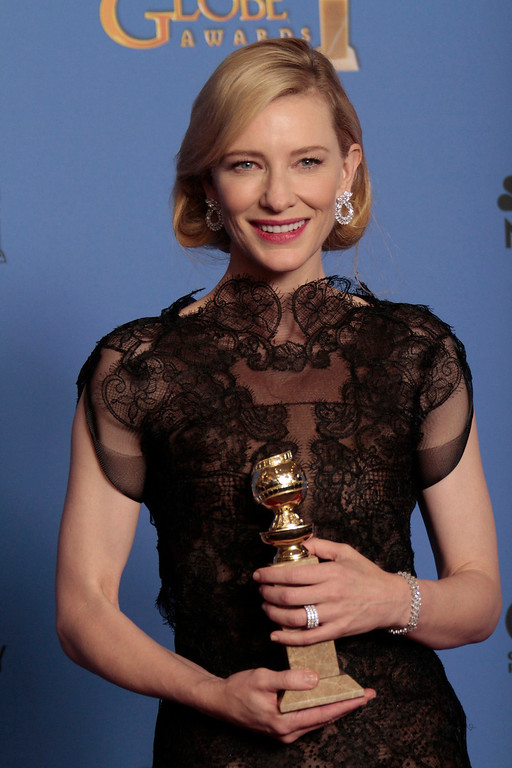 . Cate Blanchett backstage at the 71st Annual Golden Globe Awards show at the Beverly Hilton Hotel on Sunday, Jan. 12, 2014, in Beverly Hills, Calif. (Lawrence K. Ho/Los Angeles Times/MCT)