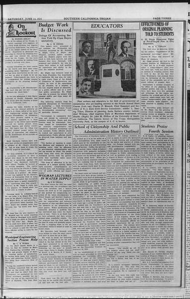 Southern California Trojan: School of Citizenship and Public Administration, Vol. 4, No. 3, June 13, 1931