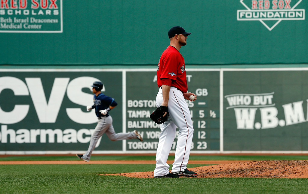 . Jon Lester #31 of the Boston Red Sox looks on after Ben Zobrist #18 of the Tampa Bay Rays hit a home run in the fourth inning during Game One of the American League Division Series at Fenway Park on October 4, 2013 in Boston, Massachusetts.  (Photo by Jim Rogash/Getty Images)
