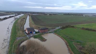 Short Ferry Flood Drone Footage
