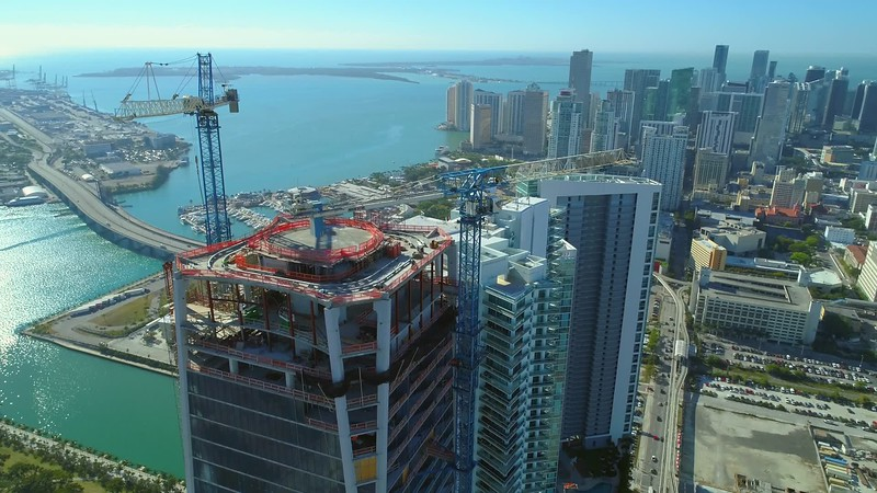 Aerial footage 1000 Museum rooftop near completion 2018
