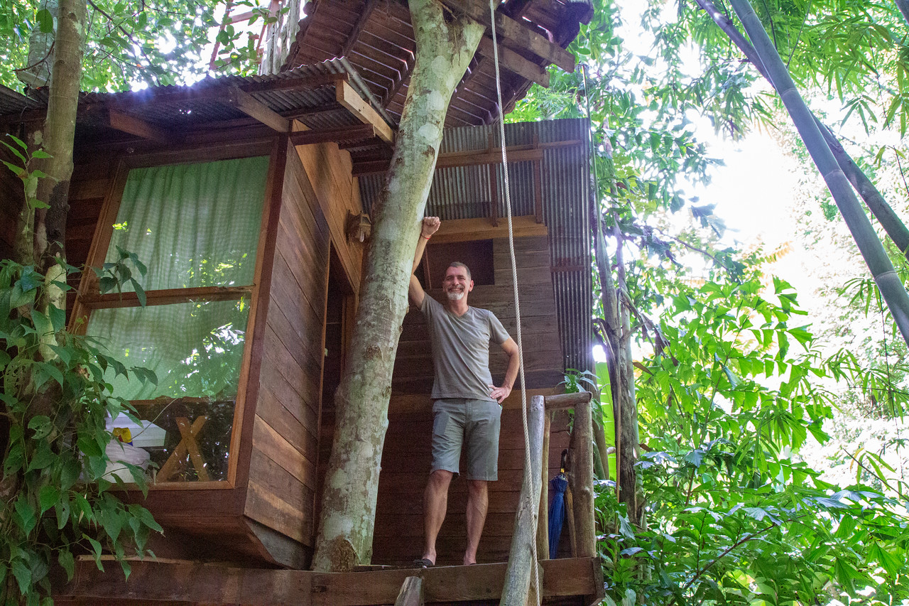 Jonathan on the Deck of a Thailand Treehouse